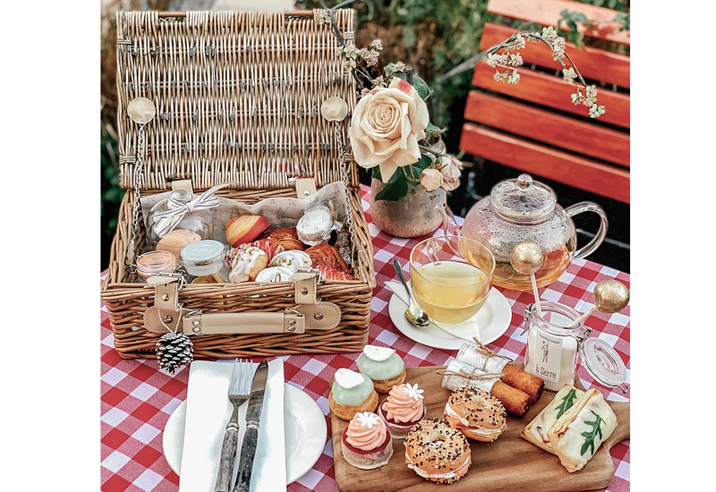 La Serre's afternoon picnic tea comprises nine dishes and a choice of a hot or cold drink