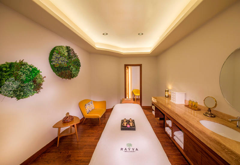 The spa features separate treatment areas for men and women