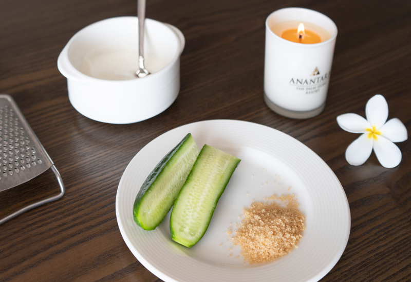 Face mask ideas include mixing yoghurt, cucumber and brown sugar