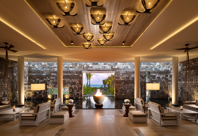 The lobby of the five-star resort