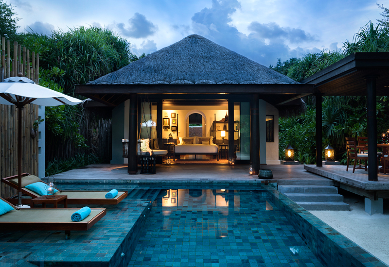 Guests can opt for a stay in a beach pool or over water villa