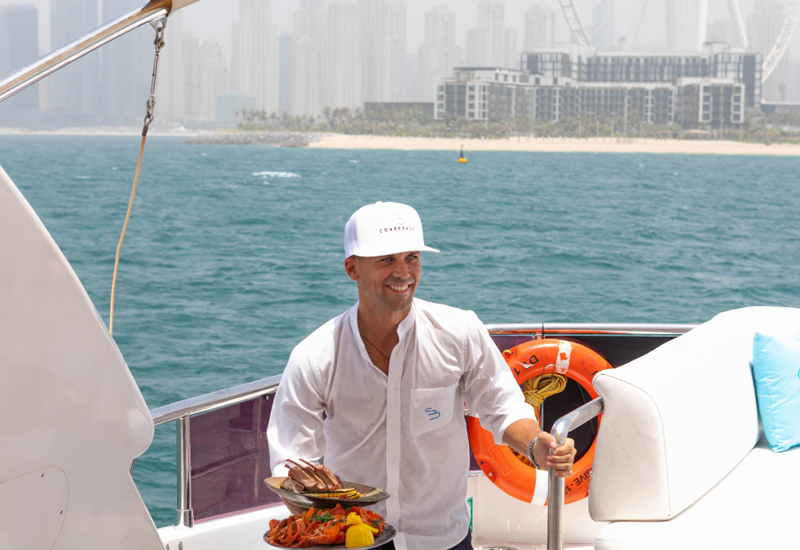 Food delivery service, Dubai Marina yachts, F&B, Cove beach, Caesars Palace Bluewaters Dubai